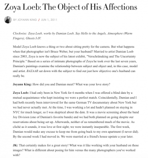 "Photograph of ""Zoya Loeb: The Object of His Affections"""