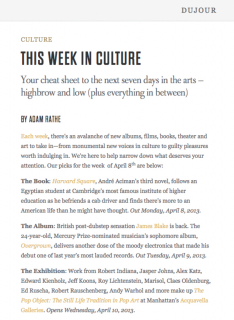 "Photograph of ""This Week in Culture"""