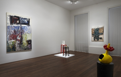 Installation view of Riopelle | Miró: Color at Acquavella Galleries from October 1 - December 11, 2015