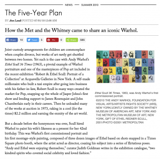 "Photograph of ""The Five-Year Plan: How the Met and the Whitney came to share an iconic Warhol"""