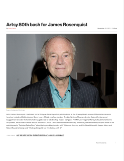 """Artsy 80th bash for James Rosenquist"""