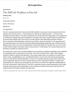 "Photograph of ""Review of ""The Pop Object: The Still Life Tradition in Pop Art"""