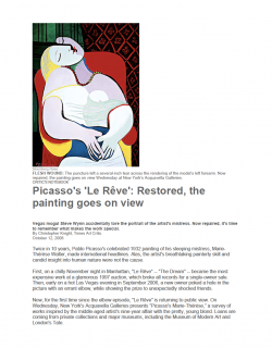 "Photograph of ""Picasso's 'Le Rêve': Restored, the painting goes on view"""