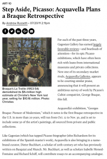 "Photograph of ""Step Aside, Picasso: Acquavella Plans a Braque Retrospective"""