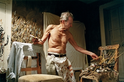 Photo of Lucian Freud painting at night by David Dawson