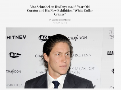 "Photograph of ""Vito Schnabel on His Days as a 16-Year-Old Curator and His New Exhibition ""White Collar Crimes"""""