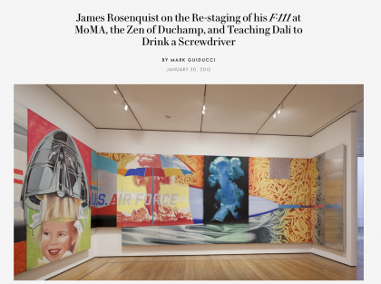 "Photograph of ""James Rosenquist on the Re-staging of his F-111 at MoMa, the Zen of Duchamp, and Teaching Dalí to Drink a Screwdriver"""