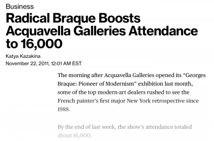 "Photograph of ""Radical Braque Boosts Acquavella Galleries Attendance to 16,000"""