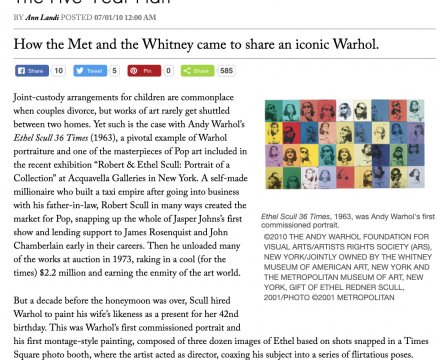 """Photograph of """"The Five-Year Plan: How the Met and the Whitney came to share an iconic Warhol"""""""
