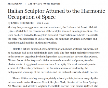 "Photograph of ""Italian Sculpture Attuned to the Harmonic Occupation of Space"""