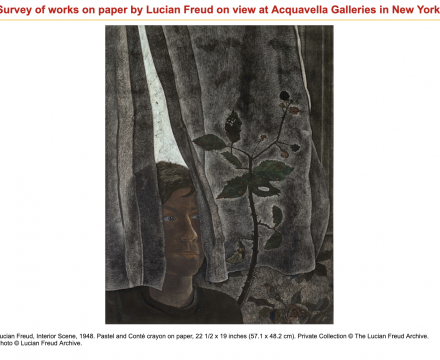 "Photograph of ""Survey of works on paper by Lucian Freud on view at Acquavella Galleries in New York"""