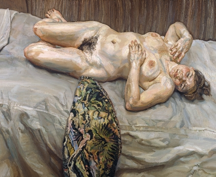 Lucian Freud, Portrait on a Grey Cover, 1996