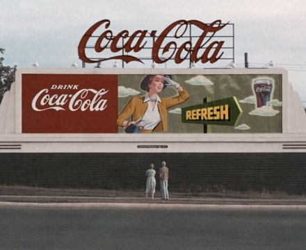 James Rosenquist and his mother admire one of the billboards he painted in Minneapolis in 1954.