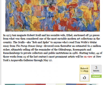 """Photograph of """"The Sculls' Warhols, Jasper Johns and Rauschenbergs All Together Again"""""""