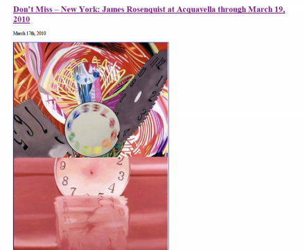 """Photograph of """"Don't Miss - New York: James Rosenquist at Acquavella through March 19, 2010"""""""