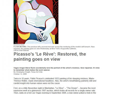 """Photograph of """"Picasso's 'Le Rêve': Restored, the painting goes on view"""""""