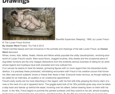 """Photograph of """"Review of Lucian Freud Portraits and Drawings"""""""