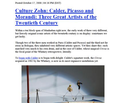"Photograph of ""Culture Zohn: Calder, Picasso and Morandi: Three Great Artists of the Twentieth Century"""