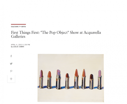 "Photograph of ""First Things First: ""The Pop Object"" Show at Acquavella Galleries"""