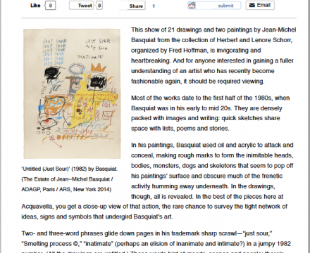 'Jean-Michel Basquiat Drawing: Work From the Schorr Family Collection' at Acquavella Galleries