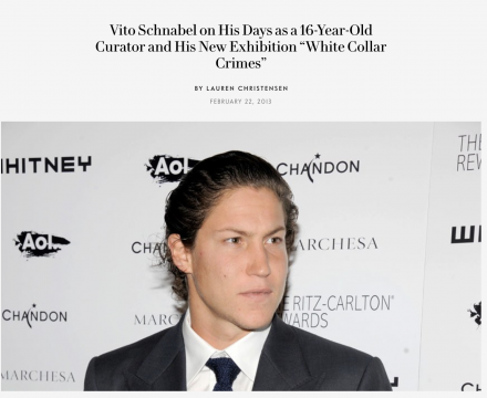 """Photograph of """"Vito Schnabel on His Days as a 16-Year-Old Curator and His New Exhibition """"White Collar Crimes"""""""""""