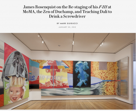 """Photograph of """"James Rosenquist on the Re-staging of his F-111 at MoMa, the Zen of Duchamp, and Teaching Dalí to Drink a Screwdriver"""""""