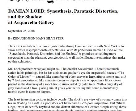 "Photograph of ""DAMIAN LOEB: Synesthesia, Parataxic Distortion, and the Shadow at Acquavella Gallery"""