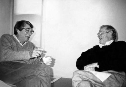 Photograph of Richard Diebenkorn and Wayne Thiebaud, around 1991