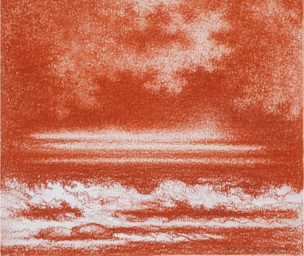 AJI VN, Untitled, red chalk on paper, 2021, red storm beach, red clouds