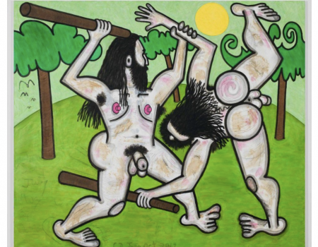 In A New Body of Paintings, Carroll Dunham Explores A Taboo: The Male Nude