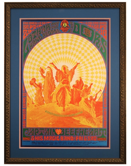 FD-84 Early Doors Poster from 1967 at University of Denver by Bob Schnepf. Also Captain Beefheart and Lothar and the Hand People, Sept 29-30, 1967 concert poster