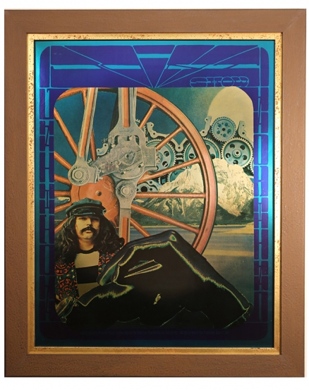 Original foil poster for the Joint Show at Moore Gallery in San Francisco July 17. 1967 by Alton Kelley. Poster features a photo of the Grateful Dead's Pigpen