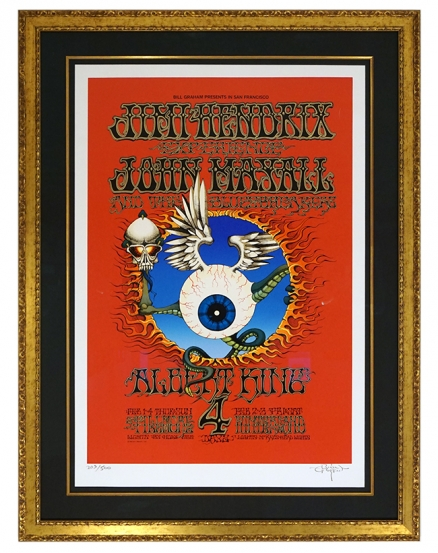 BG-105 Oversized serigraph of Rick Griffin's 1968 Jimi Hendrix poster called  Flying Eyeball. Jahn Mayall poster. Albert King poster. Silkscreen signed and numbered edition