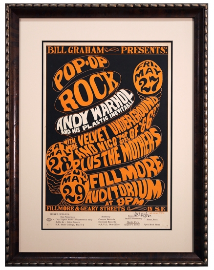 BG-8  Wes Wilson poster for a 1966 Fillmore advertising show by Andy Warhol, the Velvet Underground and Frank Zappa and the Mothers of Invention. Starring Pop Girl of 1966, Nico