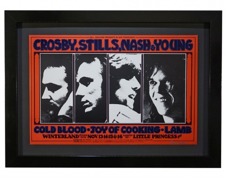 BG-200  By Randy Tuten, this 1969 CSNY poster features pictures of Crosby, Stills, Nash, and Young. Concert was Nov 13-16 1969 at Winterland and photo was by Henry Diltz