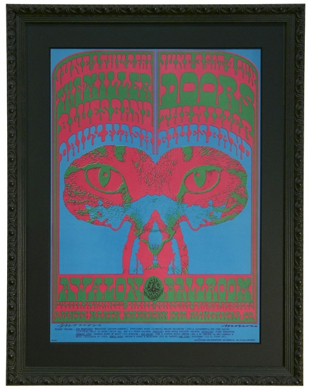 FD-64 Original Poster for The Doors at the Avalon Ballroom in San Francisco June 1-4, 1967 by Victor Moscoso. Also Steve Miller Blues Band poster.