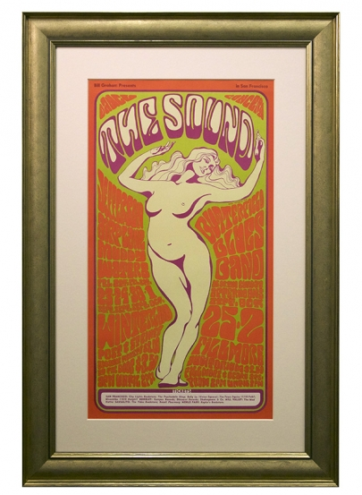 "BG-29  Wes Wilson 1966 Fillmore poster called ""The Sound"" featuring Jefferson Airplane, Muddy Waters, Butterfield Blues Band September 23-Oct 2, 1966. Features beautiful voluptuous dancing nude"