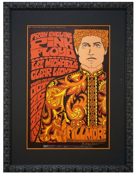 BG-90 Nehru Jacket Poster advertising Pink Floyd at Fillmore Oct 26-29, 1967. Poster by Bonnie MacLean also features Clear Light and Lee Michaels