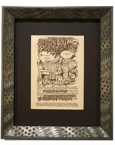 AOR 2.19  Handbill advertising Big Brother & The Holding Company Thanksgiving Day 1967 by Rick Griffin and called Turkey Trot