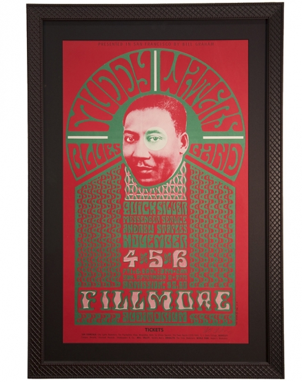 BG-35 concert poster Fillmore auditorium for Muddy Waters and Quicksilver by Wes Wilson