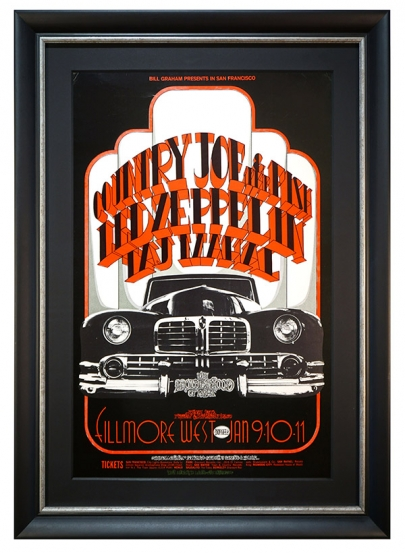 BG-155 Original and Early Concert Poster 1969 Led Zeppelin with Country Joe & The Fish at Fillmore West Jan 9-11, 1969 with a big Limousine by Randy Tuten