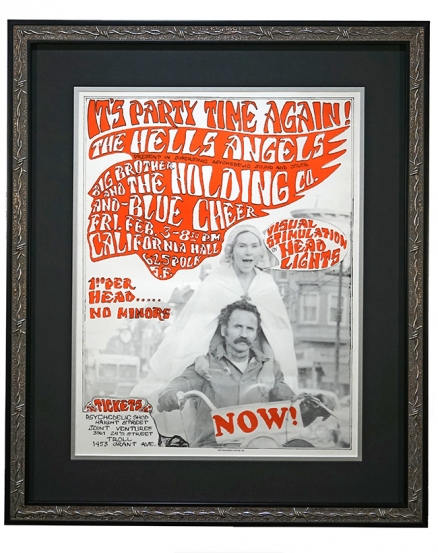 "AOR 2.248  Hells Angels 1967 Poster for concert party with Big Brother & the Holding Company and Blue Cheer by Allen ""Gut"" Terk at California Hall, San Francisco February 3, 1967 poster"