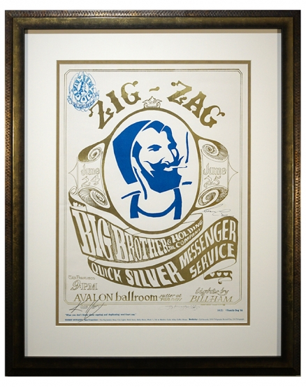 FD-14  1966 Poster called Zig-Zag by Stanley Mouse and Alton Kelley. Early Big Brother and the Holding Company and Quicksilver Messenger Service poster from 1966