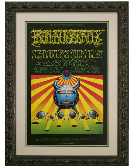 BG-141 Iron Butterfly poster 1968 with Sir Douglas Quintet by Rick Griffin and Victor Moscoso