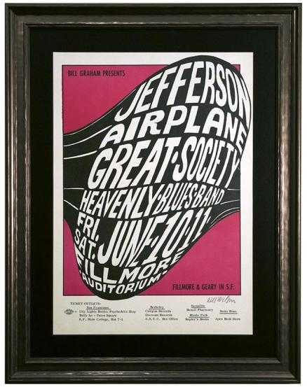 BG-10 June 1966 psychedelic Fillmore poster by Wes Wilson advertising Jefferson Airplane and the Great Society.