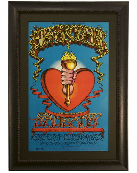 BG-136 Original 1968 poster by Rock Griffin called Torch and Heart advertising Sept 12-14 1968 concerts by Big Brother & the Holding Company, Santana and Chicago Transit Authority Band at the Fillmore West