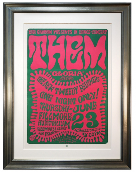 BG-12 Early Fillmore poster by Wes Wilson advertising rock concert by Van Morrison and Them on June 23, 1966