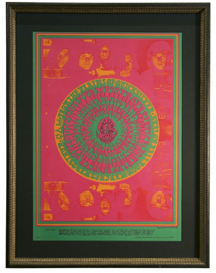 FD-53 Poster from 1967 for Quicksilver Messenger Service, Steve Miller and John Lee Hooker at the Avalon Ballroom San Francisco by Victor Moscoso