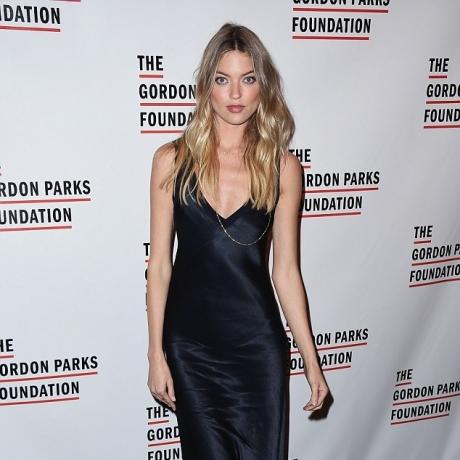 """Martha Hunt stuns in slinky silk dress alongside her fellow models at the Gordon Parks Foundation Awards in New York"""