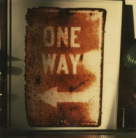 Walker Evans, Untitled (One Way sign), 1973-74, Howard Greenberg gallery, 2019